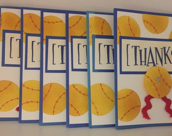 Softball Thank You Cards Set of 7 Hand Made