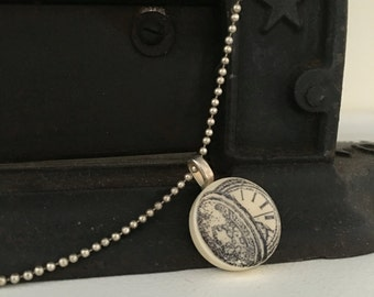 Faux Pocket Watch Charm Necklace