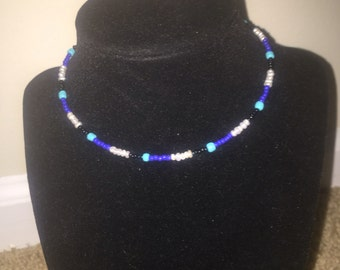 Blue, White, and Black seed bead choker