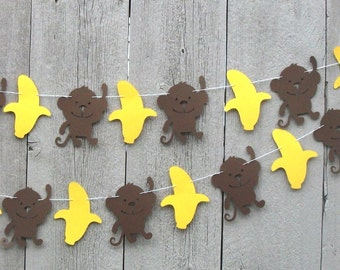 Monkey garland, Monkey and Banana party garland, Monkey birthday decorations, Little Monkey, Monkey banner