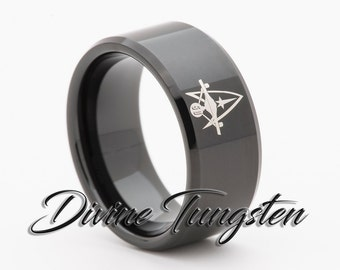 star trek 50th design mens tungsten carbide wedding band 10mm black beveled polished ring with free - Star Trek Wedding Ring