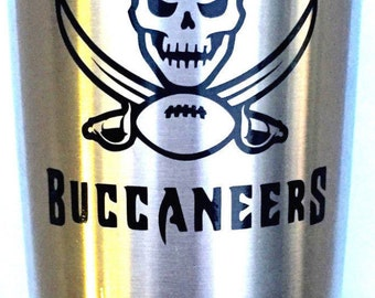 Tampa Bay Buccaneers Decal Sticker For Yeti RTIC Ozark Trail Rambler Tumbler Coldster Cooler