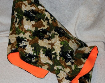 Army Camo/Safety Orange Double Sided Recieving/Swaddle Blanket