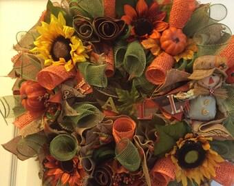 This pretty Fall wreath -Ready to ship.