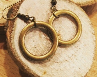 Antiqued brass earrings