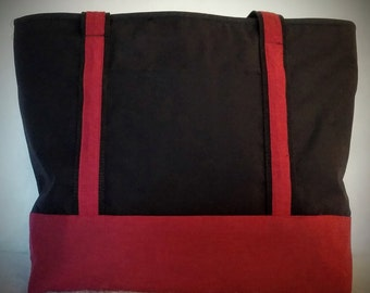 The Madison Tote bag: Black with Red Trim