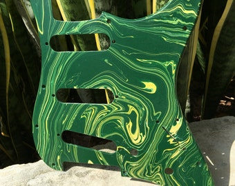 Stratocaster pickguard w/ Hunter Green and Warm Yellow swirl