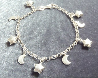 Sterling Silver Star and Moon Bracelet RB15