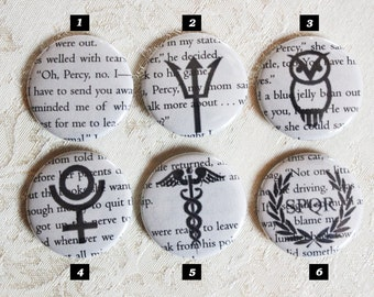 Percy Jackson •  1.5 inch buttons • Camp Halfblood • Series • Poseidon • Jewelry • Book pages makes each pin unique. Buy 3 Get 1 FREE!