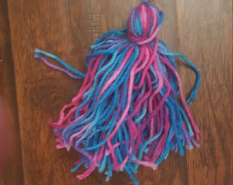 Handmade Variegated  Pink and Blue Yarn Tribal Belt Tassels