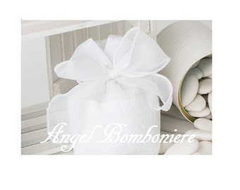 "White wedding FAVOR BAGS boxes ""PACKED placeholder communion baptism birth anniversary"