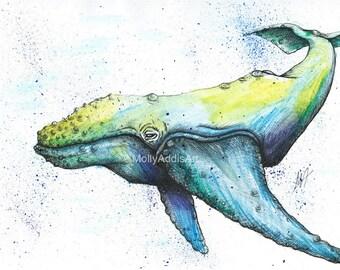 A5 Whale Print