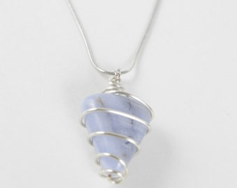 Silver Wrapped Blue Agate Crystal Necklace