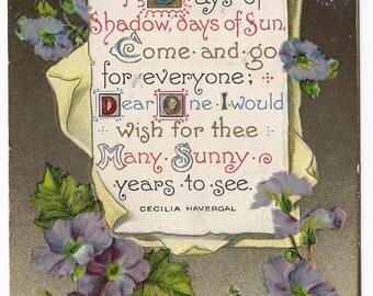 1910 Old Vintage Postcard, Flowers, Poem, Poetry, 1c US Stamp