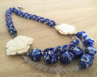 Custom necklace with blue Bohemian crystals - unique