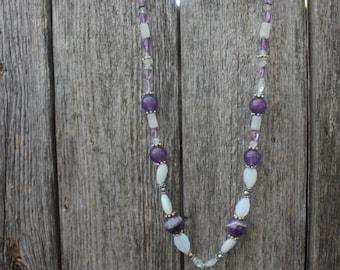 Fluorite, Amethyst & Opalite Necklace