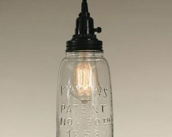 Half Gallon Open Bottom Mason Jar Pendant Light - Clear Glass