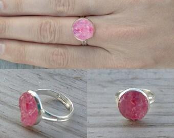 Pink Crushed Quartz Ring