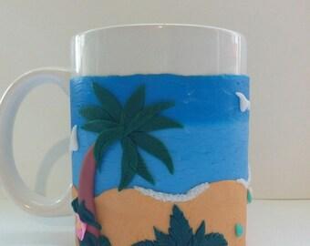 cups,decor,polymer clay,mug,the sea and the beach