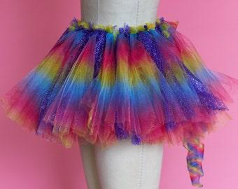 Rainbow Tulle Rave Skirt
