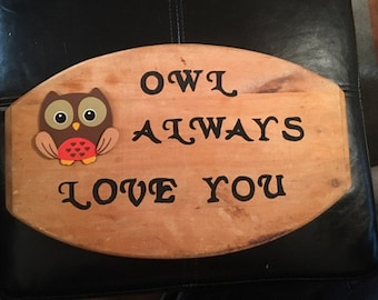Personal Wooden Sign with Owl Accent