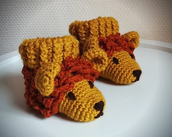 Baby crochet shoes lions animal, baby booties to the Red mane