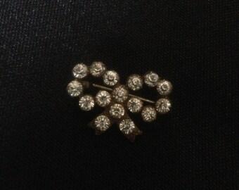 Vintage crystal bow pin