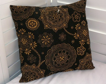Pillow Cover, Throw Pillow Cover, Decorative Pillow Cover, Cotton Print Fabric, Black Gold African Print