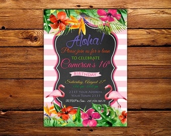 Aloha Birthday Party Invitation. Tropical Birthday Party. Hawaiian Birthday Invitation. 16th Birthday Party. Any age.Aloha Party Invitation.