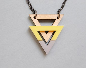 Grey and Yellow Geometric Double Triangle Modern Necklace | Grellow necklace | Grey Curve Necklace | Layered Triangle | Ladies Bib Necklace