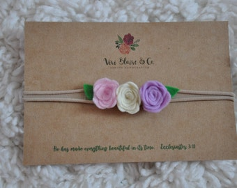 Three Roses Baby Felt Flower Headband