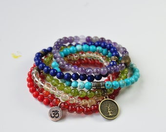 Stack of 7 Chakra Bracelets,Buddha Mala,Yoga Healing Balance, Mediation Reiki,Zen Boho Bracelet,Citrine,Turquoise,Amethyst,Yoga Mantra