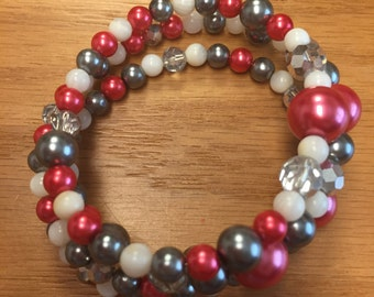 Twist Bracelet Red and Gray