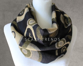 Black Scarf, Circle Infinity Scarf, Fashion Scarf, Loop Scarf, Summer/Winter Scarf, Trendy Scarf, Infinity Scarf, Black Infinity Scarf