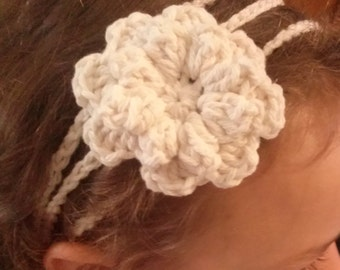 Crochet Flower Headband and Flower Clip