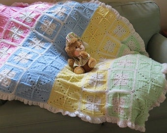 Green-Yellow-Blue-Pink Granny Squares