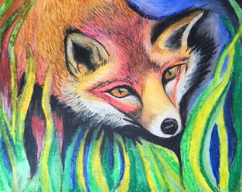 Pastel Fox Drawing Original/Prints
