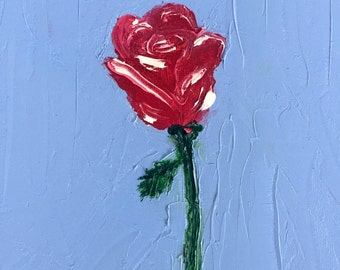Red rose 8in x 10in original oil painting