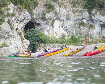 Canoeing In France, Fine Art Print
