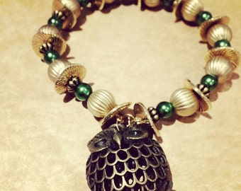 Beads and Owl Charm Bracelet