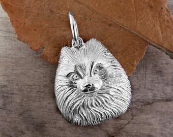 Sterling Silver POMERANIAN DOG Pendant/Charm, Handmade Silver Pomeranian,Fits Pandora, Silver Dog charm, Silver Dog pendant, See other dogs