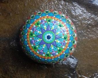 Mandala, paperweights, hand-painted stone.