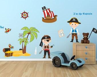 090 wall stickers pirate ship treasure island skull Captain treasure chest compass * nikima * in 4 verse. Sizes