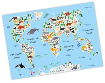 charming children world map Grau A3 / A2 / A1 * nikima * in 3 different sizes continents America, Europe, Africa, animals, Orca