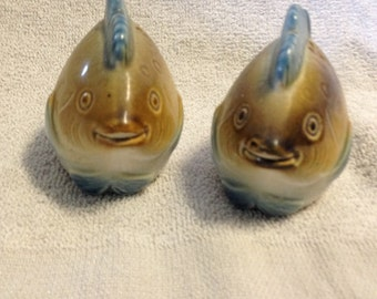 Items similar to vintage striped tropical fish salt for Fish salt and pepper shakers