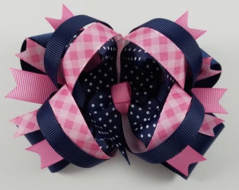 Girls Hair Bow, Boutique Bow, Pink and Navy Hair Bow, Double Stacked Bow