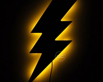 LED Lightning Bolt Sign - A Flash of Lightning as Wall Hanging Night Light
