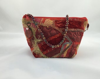 Silk Embellished Evening Clutch with Beaded Handle