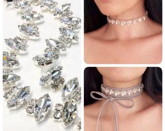 Sparkly Choker Crystal Choker Rhinestone Choker Wrap Necklace Lace up choker Diamond Choker Prom Choker Sexy Choker Trendy Choker