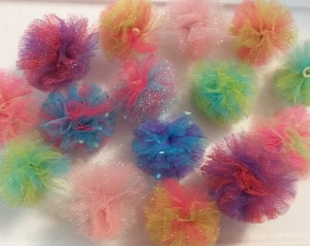 Tulle PomPom Grooming Bows - Assorted Colors